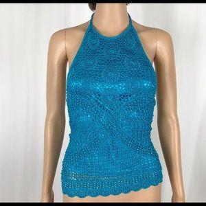 Stretch Crochet Halter Top